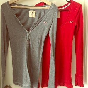Hollister red and gray long sleeve tops bundle